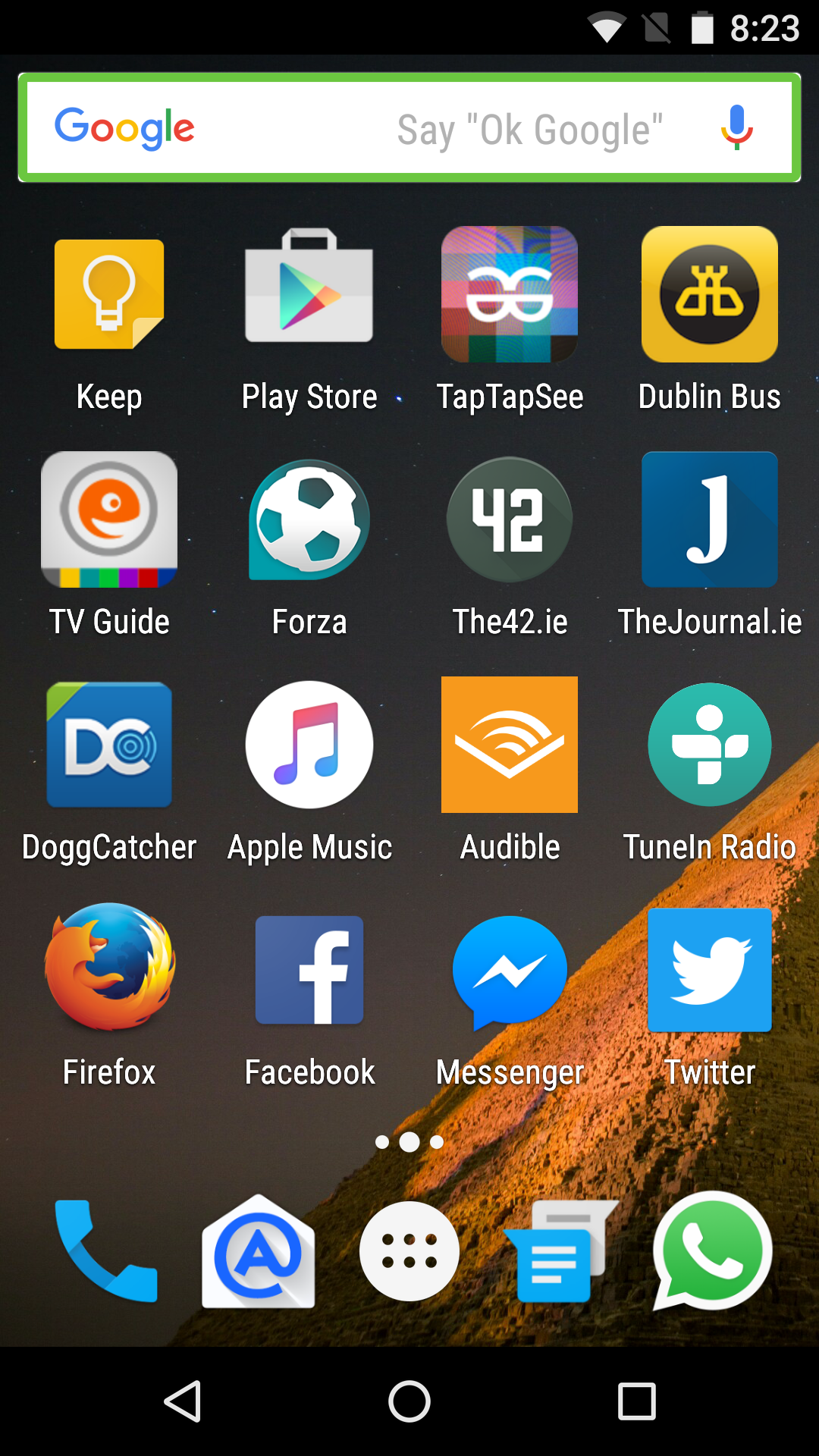 Screenshot of home screen one with 16 apps, plus 4 apps and the apps folder in the dock